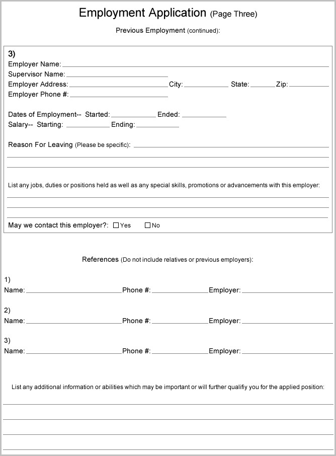 Free Printable Application Forms