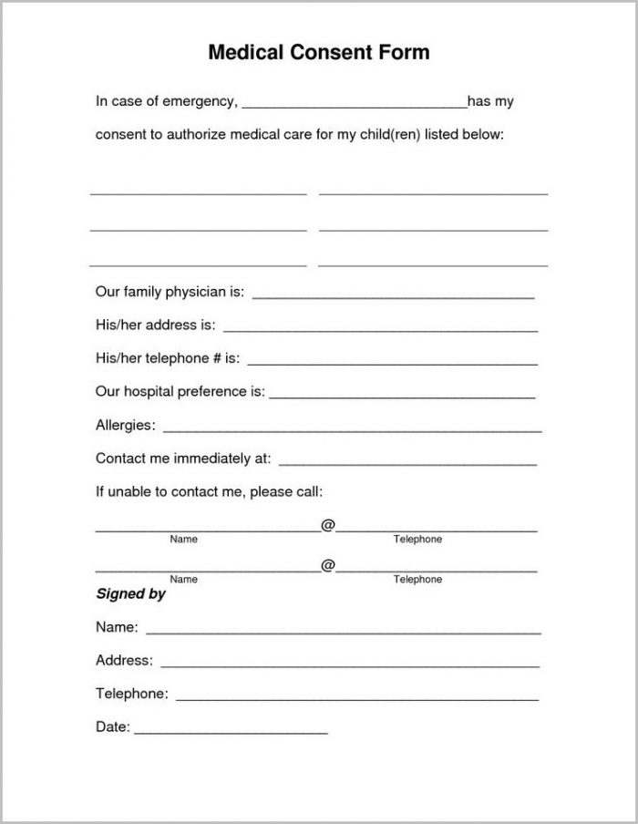 Free Printable Child Medical Consent Form For Grandparents