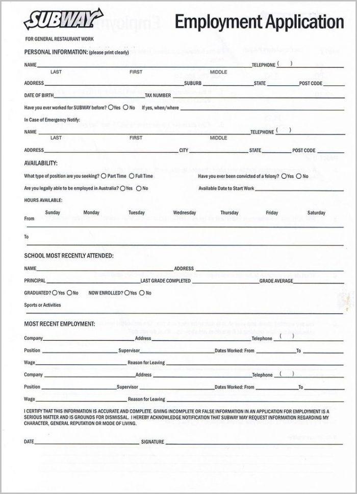Free Printable Employment Application Template