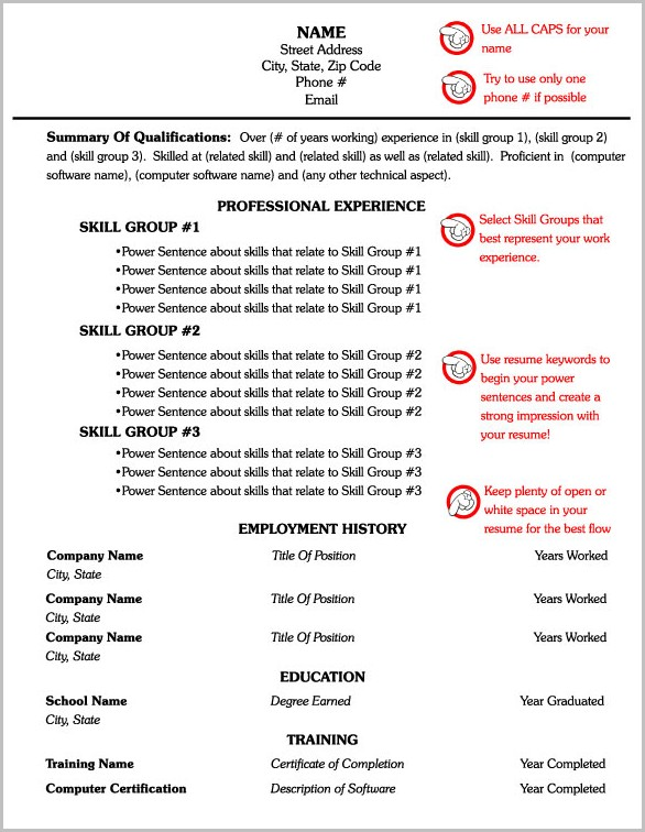 Free Printable Functional Resume Templates