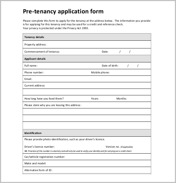 Free Printable Generic Employment Application Form