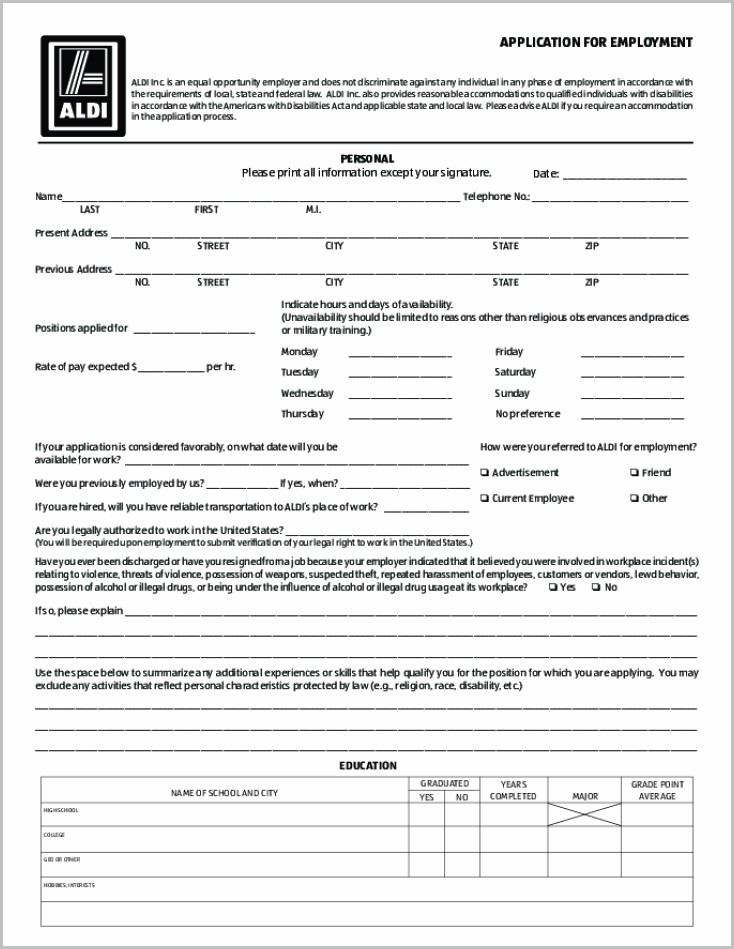 Free Printable Job Application Template
