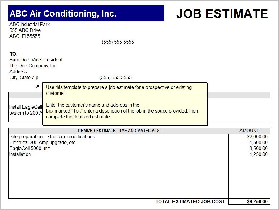 Free Printable Job Quote Forms