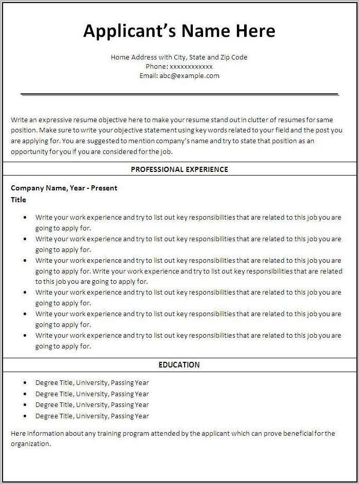 Free Printable Resume Templates For Microsoft Word