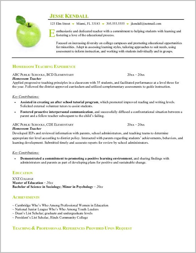 Free Resume Builder For Teachers