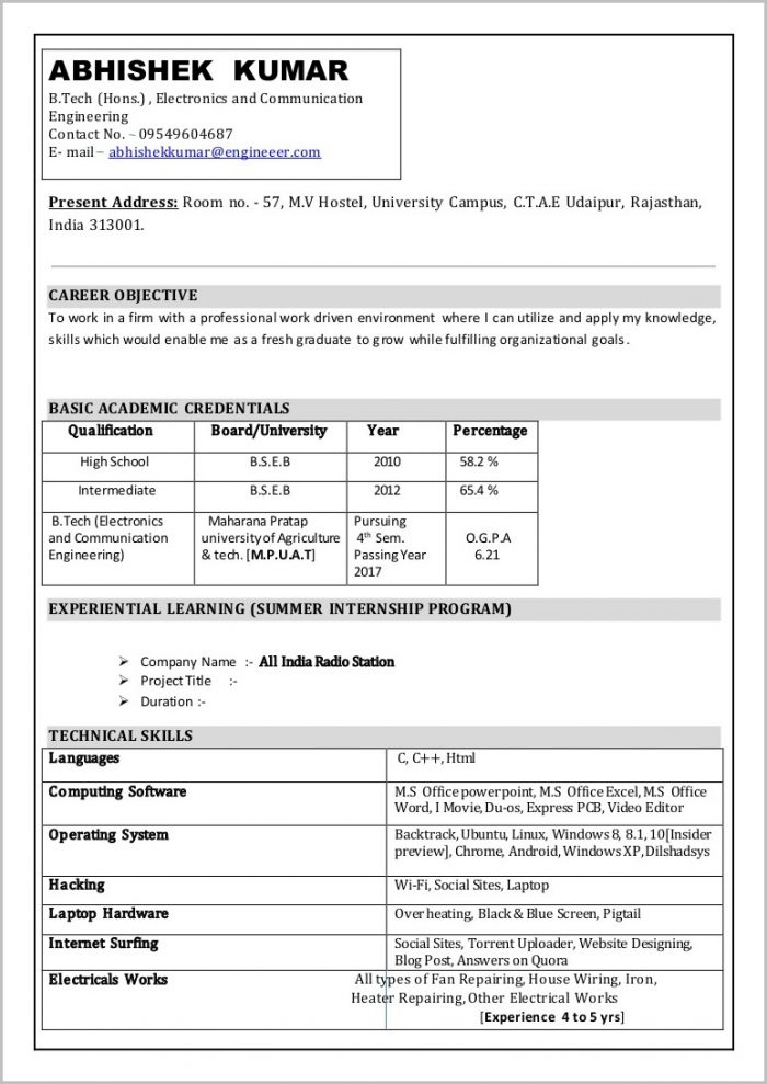Free Resume Format In Word Download