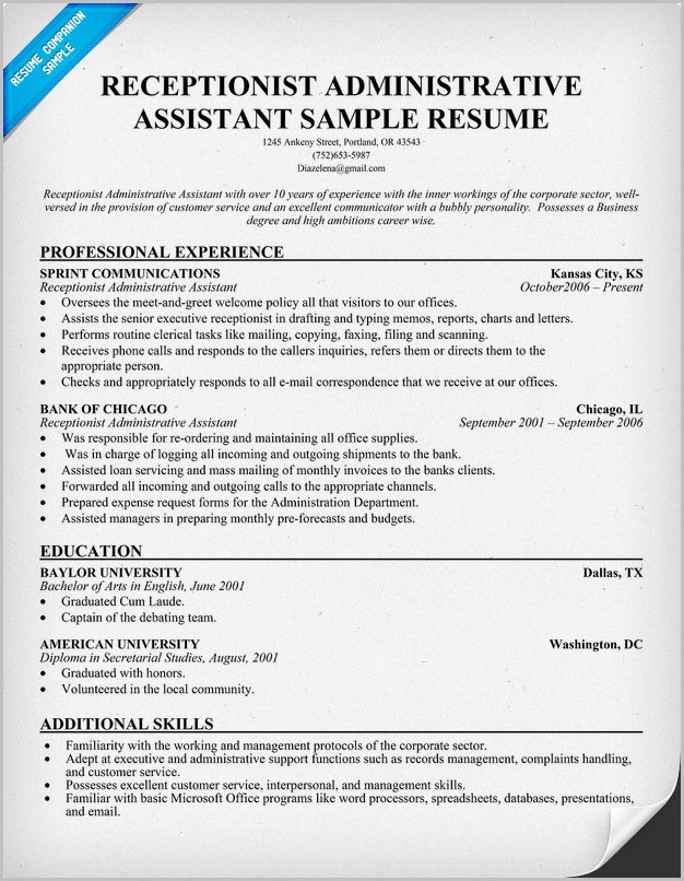 Free Resume Template Receptionist