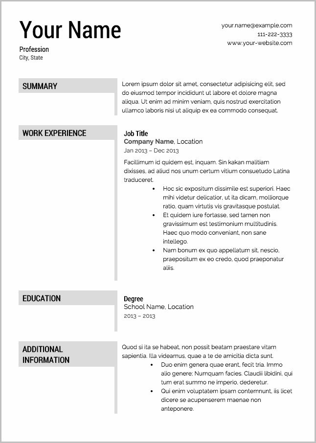 Free Resume Templates And Downloads