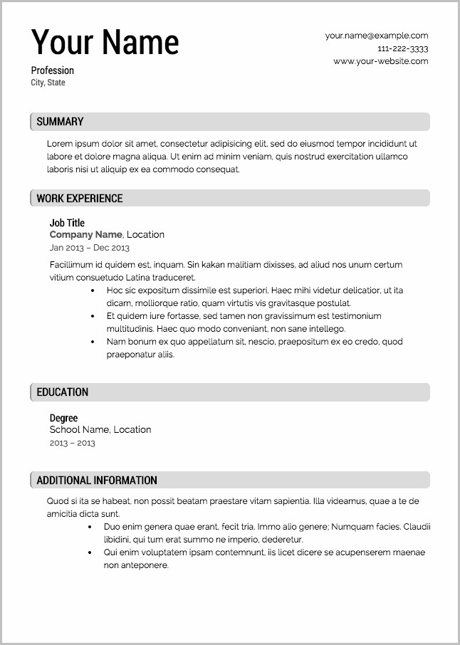Free Resume Templates Builder