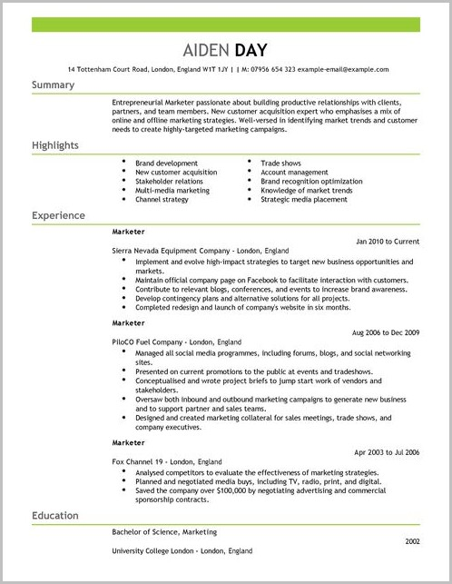Free Resume Templates For Word Perfect