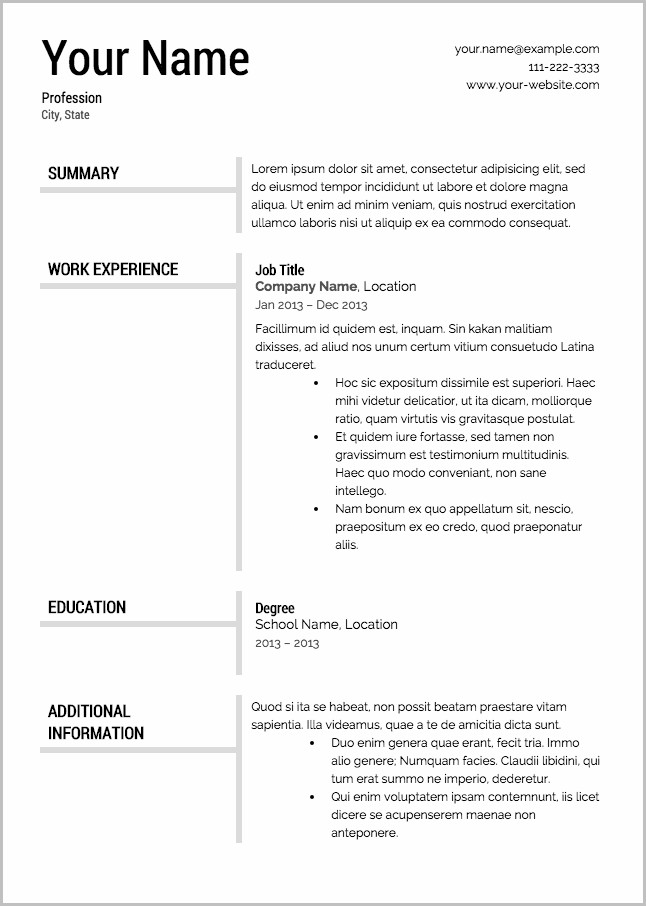 Free Resume Templates No Registration