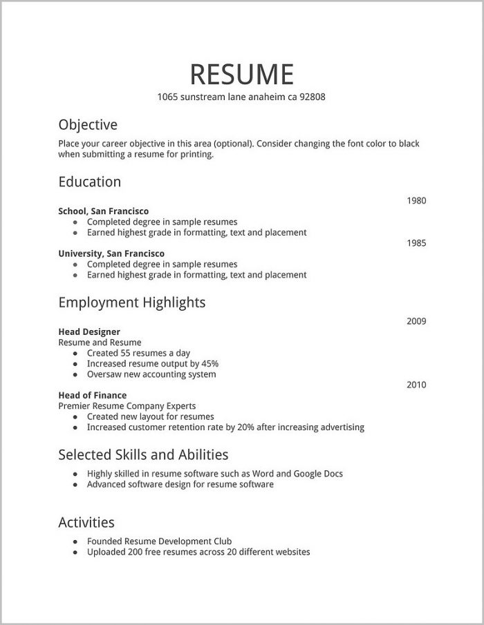Free Resume Templates Office