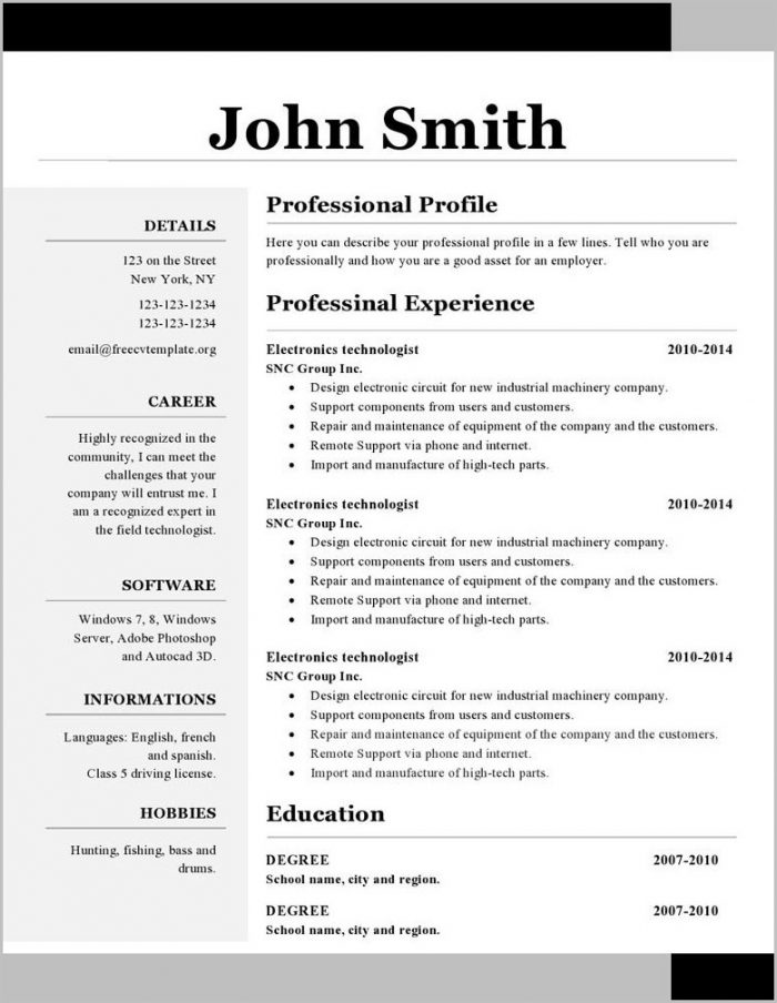 Free Resume Templates Word Format