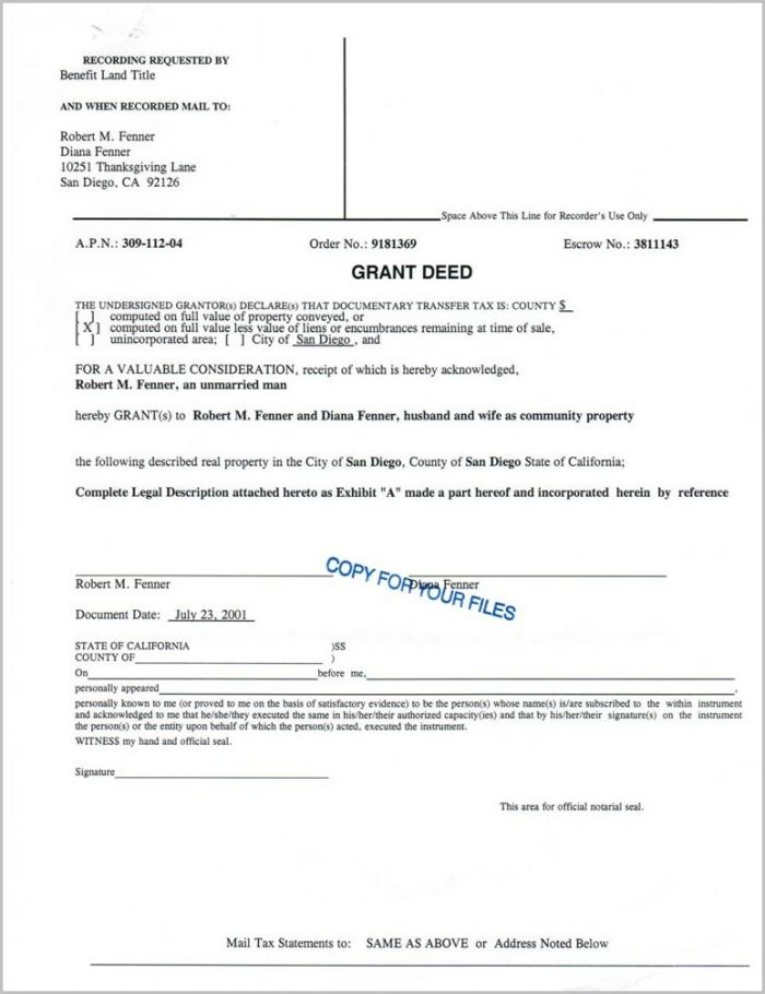 Grant Deed Form For San Bernardino County