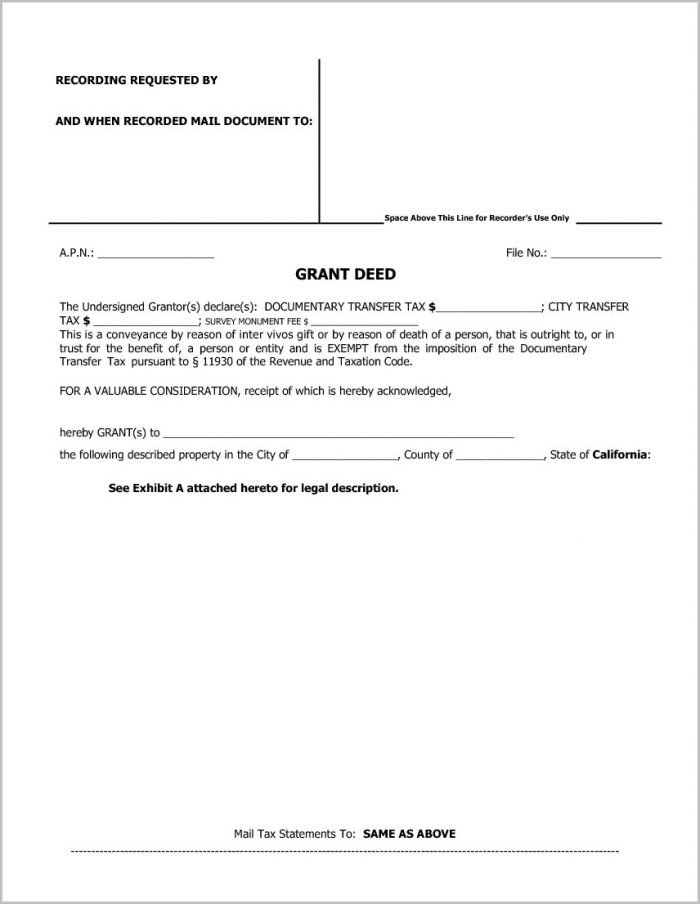 Grant Deed Form Los Angeles County