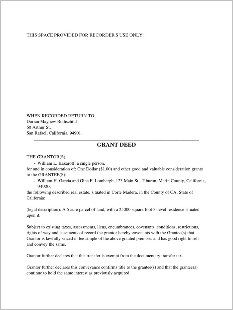 Grant Deed Form Marin County