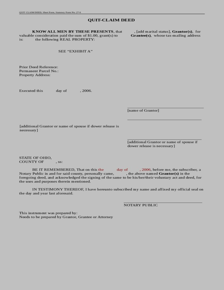 Grant Deed Form Ohio