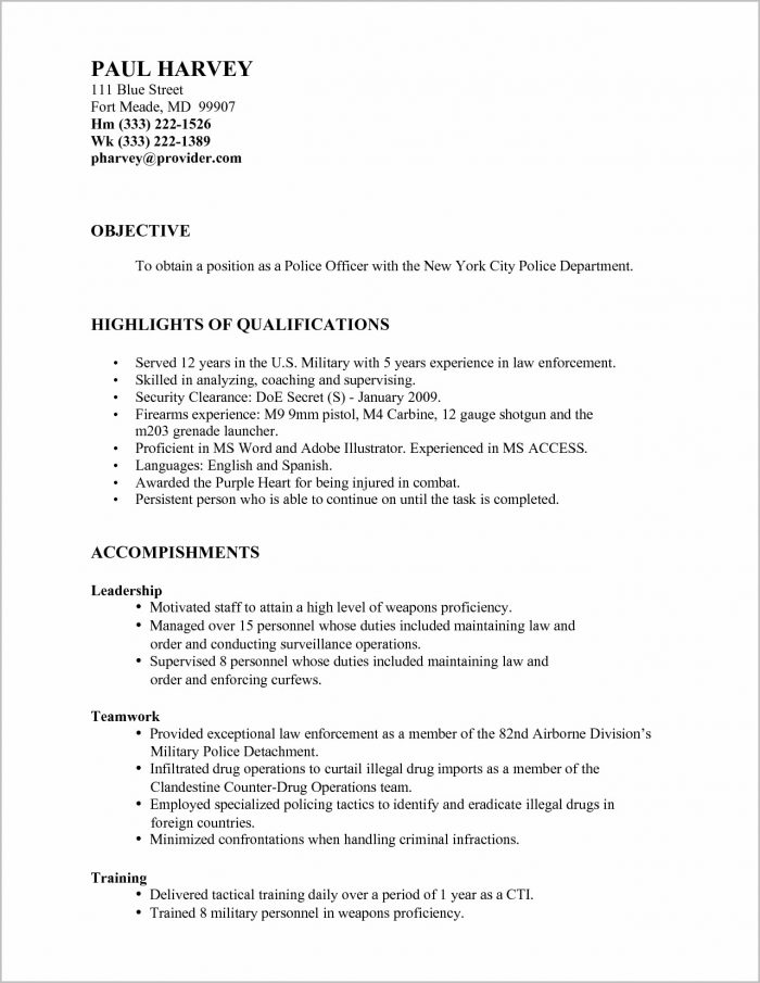 Military To Civilian Police Officer Resume
