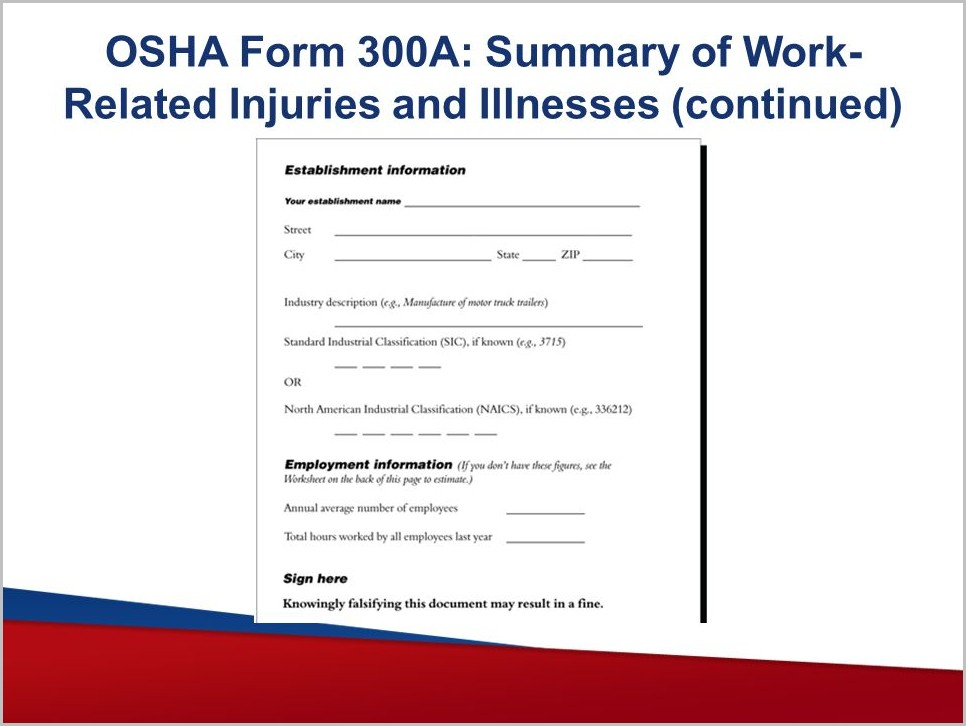 Osha Form 300a Summary Of Work Related Injuries And Illnesses