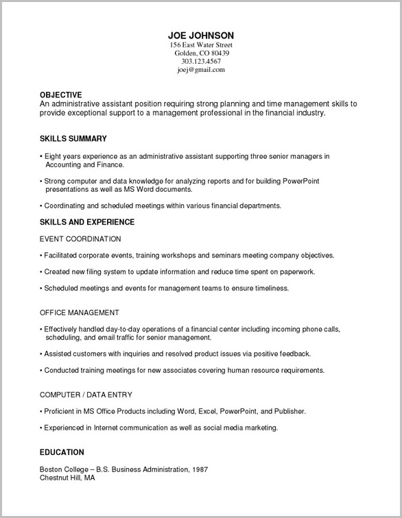 Outline For A Combination Resume