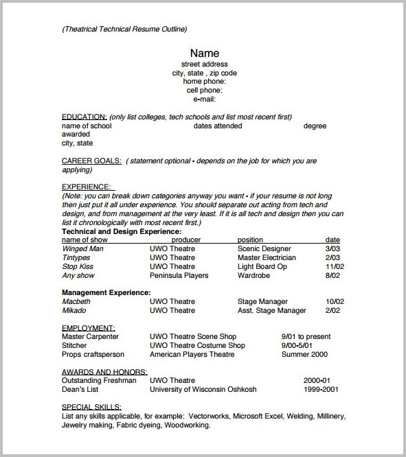 Outline For A Resume Example