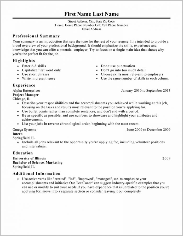 Outline For Resume Example