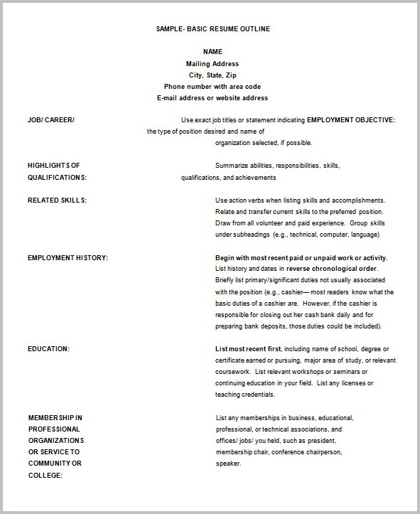 Outline In Resume