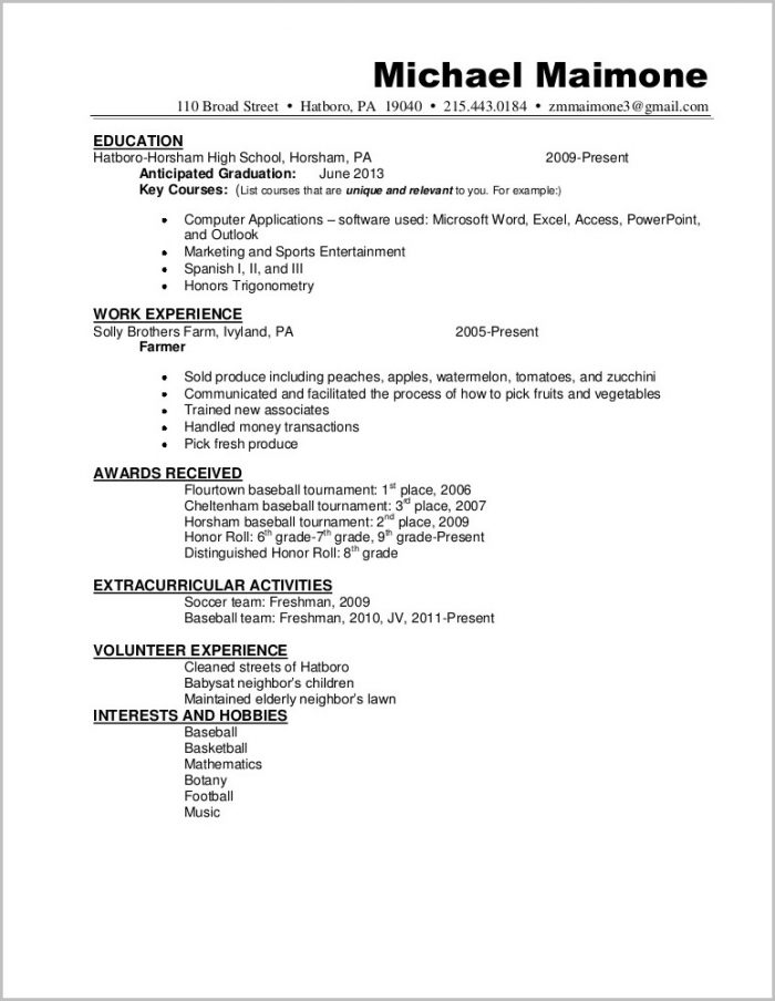 Outline Of A Basic Resume