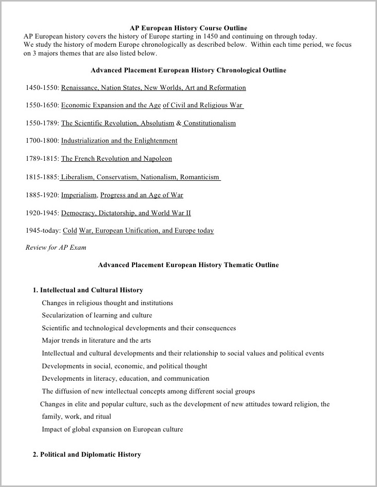 Outline Of A Chronological Resume