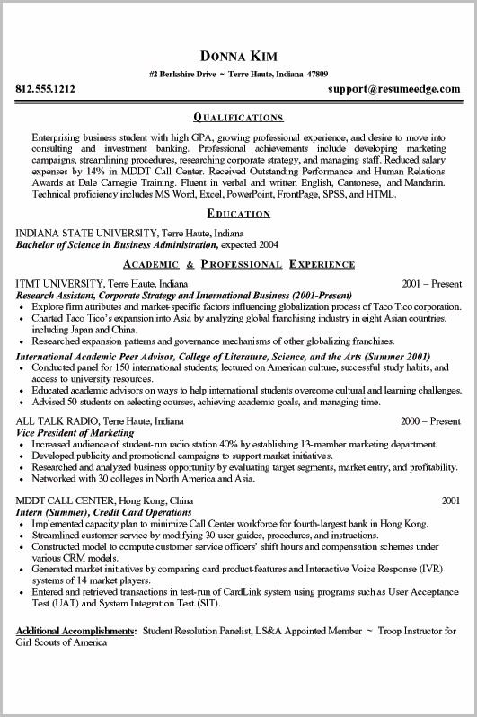 Outline Of A College Resume