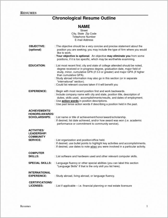 Outline Of A Job Resume