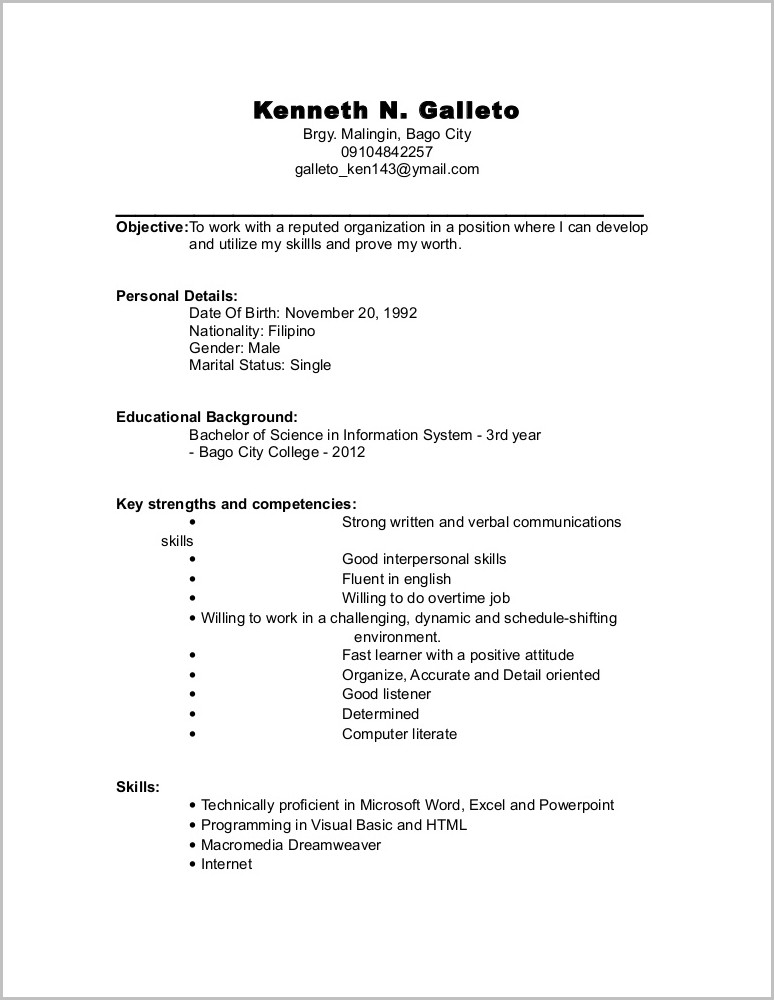 Outline Of A Resume For A Student