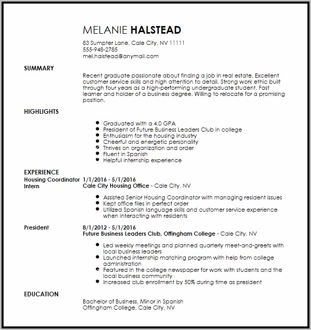 Outline Of An Resume