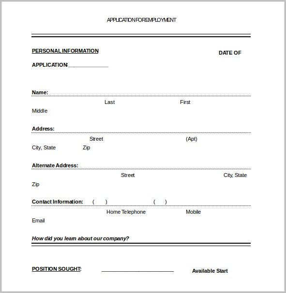 Printable Job Application Form Template