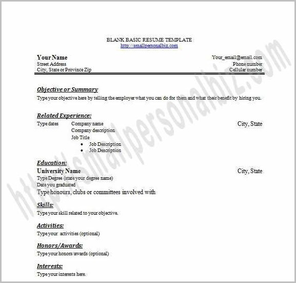 Printable Resume Template For Students