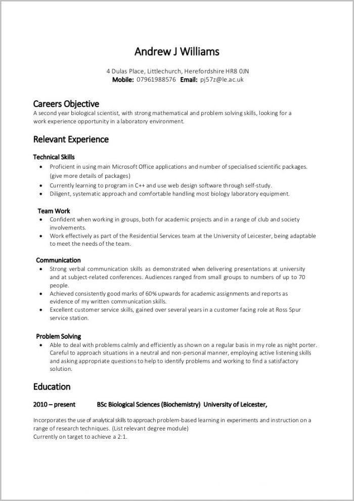 Resume Format For Job Word