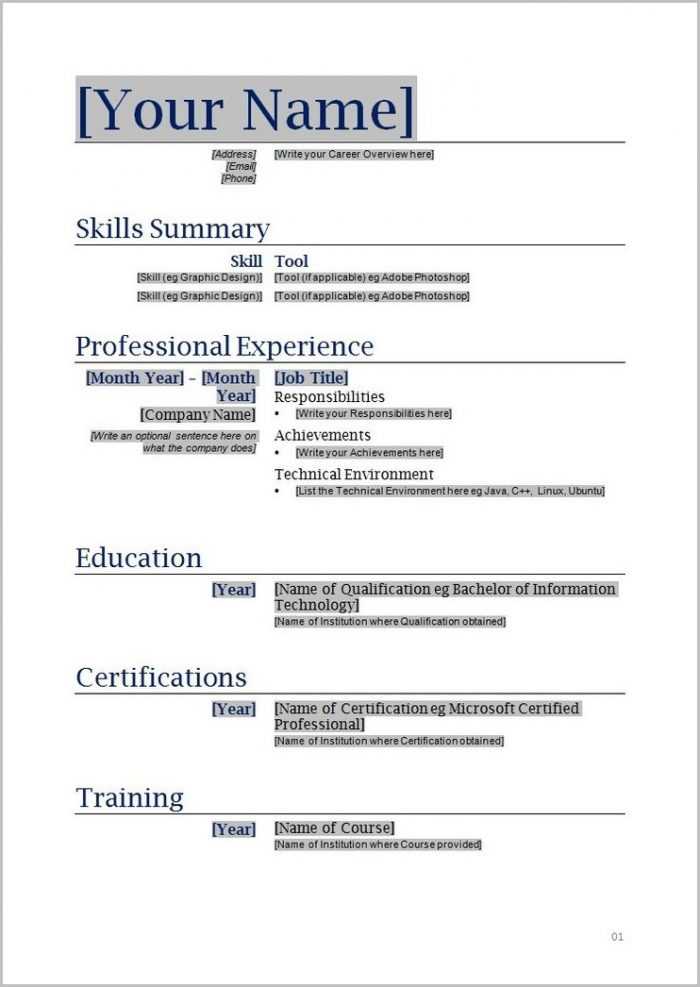 Resume Format For Word File