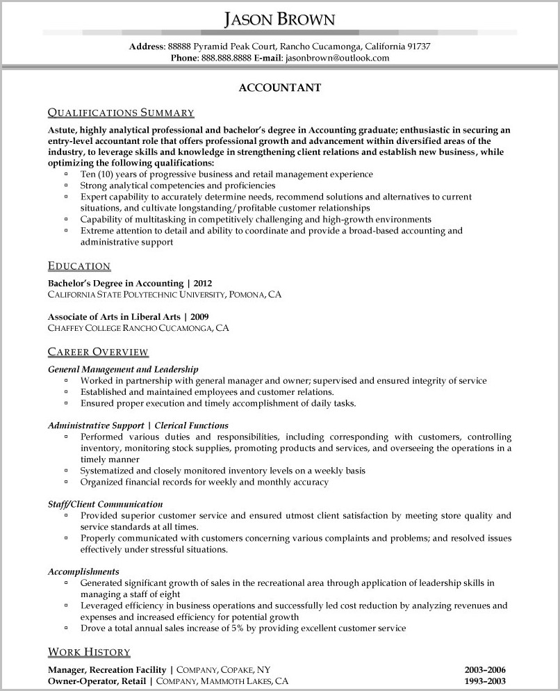 Resume Format In Word For Accountant