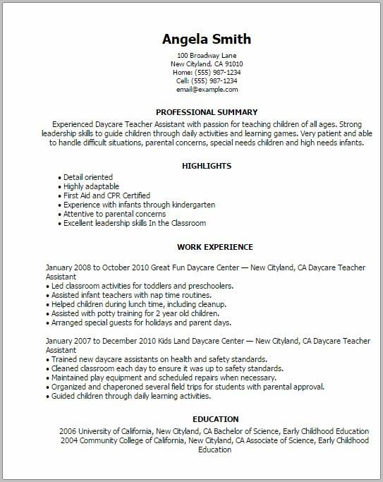 Resume Format In Word For Teacher