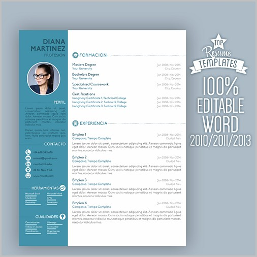 Resume Template Word Colour