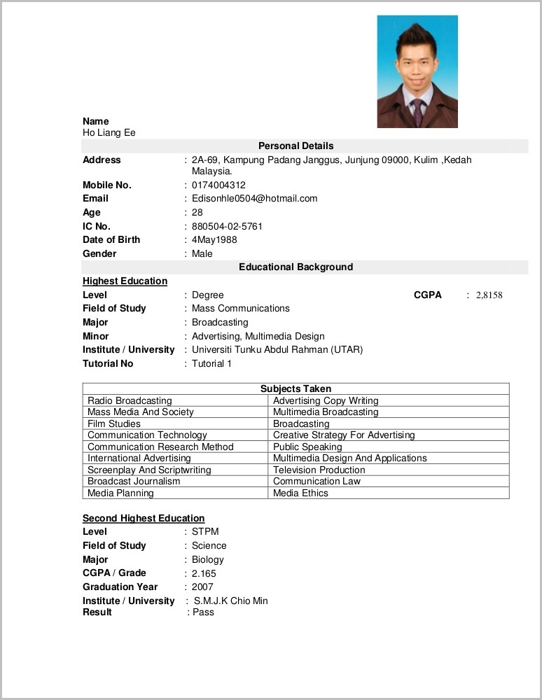 Resume Template Word Download Malaysia