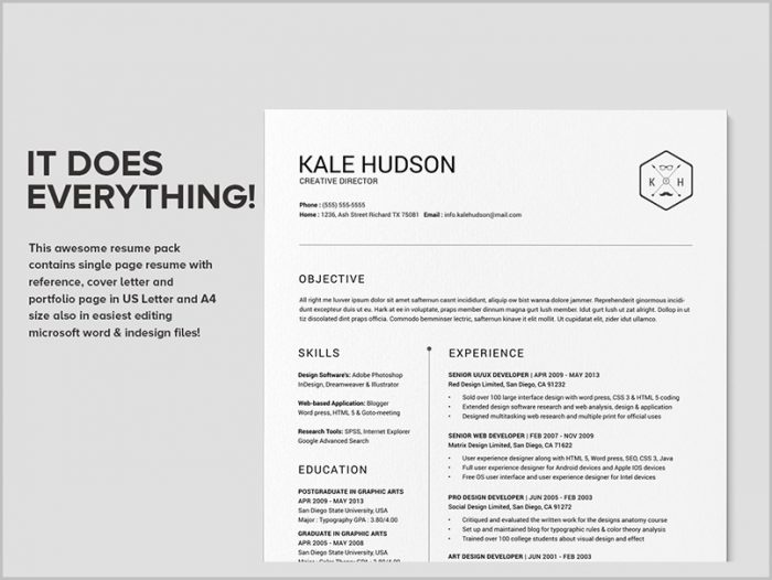 Resume Template Word Etsy