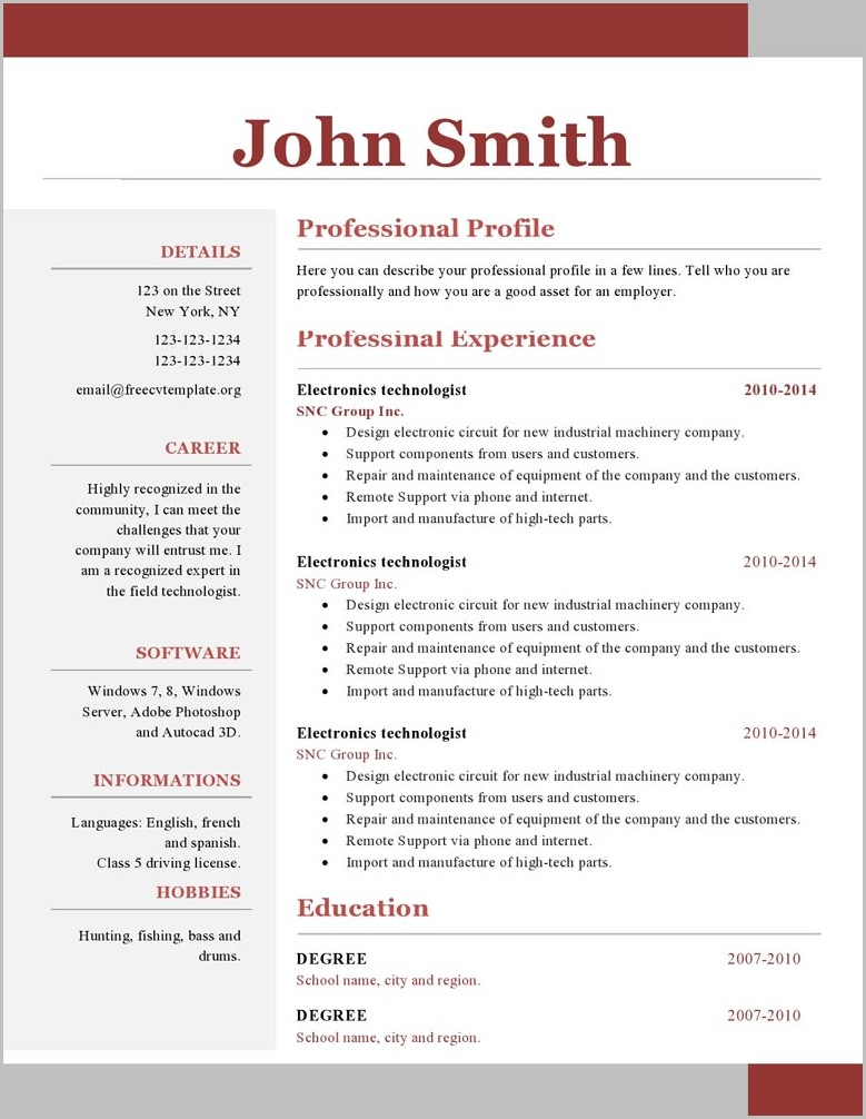Resume Template Word One Page