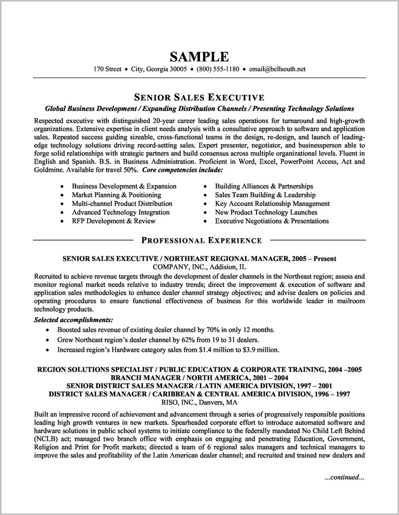 Resume Template Word Sales