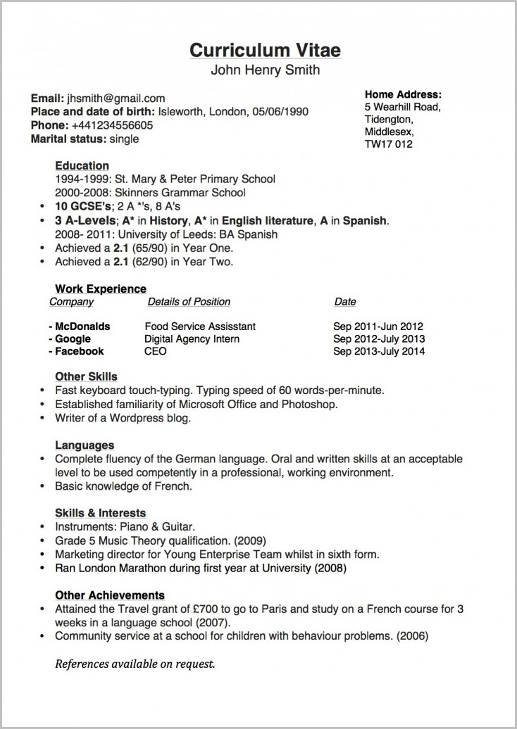 Resume Template Word Simple