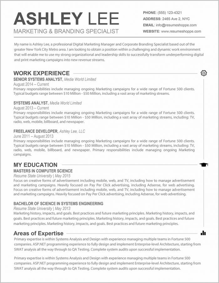 Resume Templates For Word On Mac