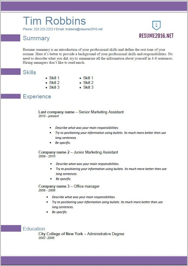 Resume Templates In Word 2013