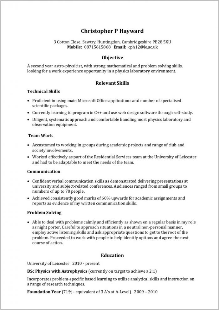Resume Templates In Word Document