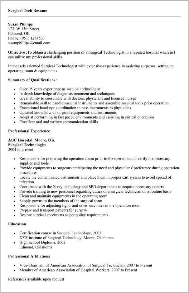 surgical tech resume ast