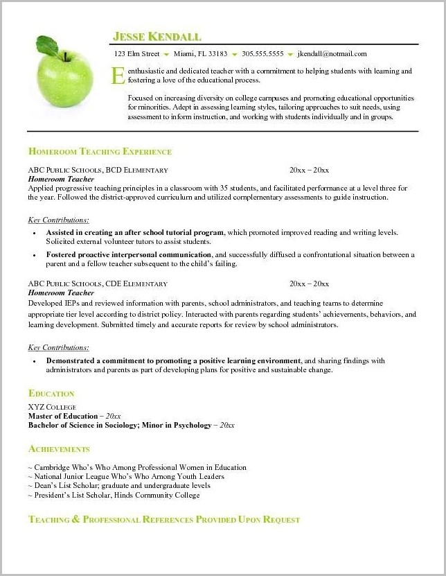 Best Free Teacher Resume Template